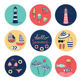 Hello Summer doodle colorful circle icons. Light house, umbrella, the sea, sailboat, hat, bag, fish, wave Royalty Free Stock Photos