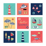 Hello Summer doodle colorful square icons. Light house, sun, sunglasses, fish, sea, sailboat, surf, ice cream, watermelon Royalty Free Stock Photos