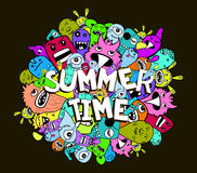 Hello summer doodle hipster colorful background Stock Photography