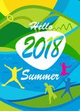 Hello Summer poster tropical travel kids. Hello Summer Festival 2018 music, jazz, pop, disco, dance, club, Holiday colorful modern poster, flyer, brochure cover Royalty Free Stock Images