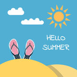 Hello summer flip flops beach. Banner Hello to summer with a picture of a beach slap. flip flops and a place for a label. Illustration of a beach holiday. Summer Stock Image