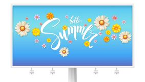 Hello summer, floral abstract pattern with bud of spring flowers. Billboard with text design and daisies, chrysanthemums. Flowers. Handwritten lettering Royalty Free Stock Photo