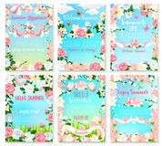 Hello Summer floral banner set with flower frame Royalty Free Stock Photography