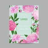 Hello Summer Floral Design with Blooming Pink Peony Flowers. Botanical Background for Poster, Banner, Wedding Invitation. Greeting Card. Vector illustration Stock Image