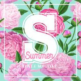 Hello Summer Floral Design with Blooming Pink Peony Flowers. Botanical Background for Poster, Banner, Wedding Invitation. Greeting Card. Vector illustration Royalty Free Stock Photography