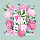 Hello Summer Floral Design with Blooming Pink Peony Flowers. Botanical Background for Poster, Banner, Wedding Invitation. Greeting Card. Vector illustration Stock Photo