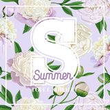 Hello Summer Floral Design with Blooming White Peony Flowers. Botanical Background for Poster, Banner Wedding Invitation. Hello Summer Floral Design with Stock Image