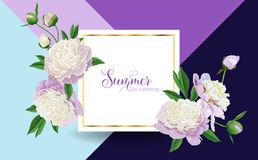 Hello Summer Floral Design with Blooming White Peony Flowers. Botanical Background for Poster, Banner Wedding Invitation. Hello Summer Floral Design with Stock Photography