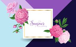 Hello Summer Floral Design with Pink Peonies Flowers. Botanical Background for Poster, Banner, Wedding Invitation. Greeting Card, Sale. Vector illustration Royalty Free Stock Photos
