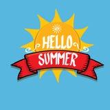 Hello Summer funny vector illustration. Stock Photos