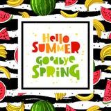 Hello summer. Goodbye Spring. Concept royalty free illustration