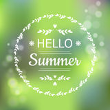 Hello Summer green card design with a textured abstract background and text in round frame, vector illustration. Stock Image