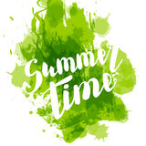 Hello summer green colored hand lettering Royalty Free Stock Images