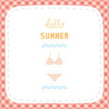 Hello summer greetiing with bikini Royalty Free Stock Images