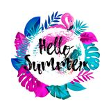 Hello Summer greeting banner. Tropical palm leaves and Pink Flamingo on hand drawn brush background. vector illustration