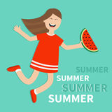 Hello summer greeting card. Girl jumping Happy child jump. Cute cartoon laughing character in red dress holding watermelon slice. Royalty Free Stock Photo