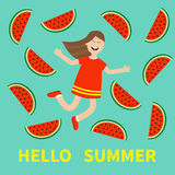 Hello summer greeting card. Girl jumping Happy child jump. Cute cartoon laughing character in red dress Watermelon slice  Royalty Free Stock Photos