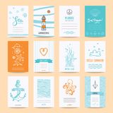 Hello Summer Greeting Cards, Nautic Illustrations. Hello summer holiday, sea vacation, marine trip card, wedding invitation, party flyer, poster. Hipster Stock Photography