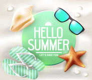 Hello Summer Greeting on Circle Tag Laying. In The Sand with Sunglasses and Star Fish Vector Illustration Royalty Free Stock Photo