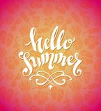 Hello Summer vector. Hello Summer - Hand drawing calligraphy. Hand drawn vector illustration set of summer elements stock illustration