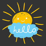 Hello summer hand drawn chalk sun icons. Royalty Free Stock Images