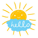 Hello summer hand drawn chalk sun icons. Stock Image