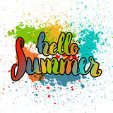 Hello summer. Hand drawn colorful lettering isolated  Stock Images