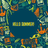 Hello Summer hand drawn doodle postcard. Vector symbols and objects with palm tree, glasses, bag and lettering Stock Image