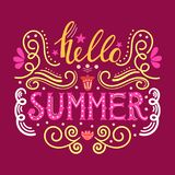 Hello summer hand drawn lettering isolated on maroon background for your design Royalty Free Stock Image