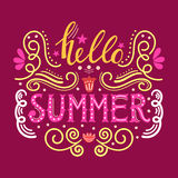 Hello summer hand drawn lettering isolated on maroon background for your design Stock Images