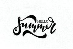 Hello summer hand drawn lettering vector illustration