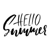 Hello summer hand drawn lettering isolated on white background for your design. Vector illustration Stock Images
