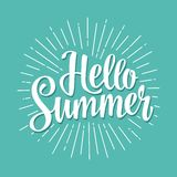 Hello summer hand drawn lettering with rays. Vector color illustration. Isolated on cyan background Royalty Free Stock Images