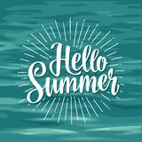 Hello summer hand drawn lettering with rays. Royalty Free Stock Photos