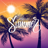 Hello Summer hand drawn lettering. Sun and palm trees silhouette. Summertime background. Royalty Free Stock Photography