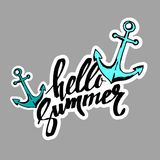 HELLO SUMMER hand lettering handmade calligraphy template and su Stock Photography