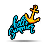 HELLO SUMMER hand lettering handmade calligraphy template and su Stock Images