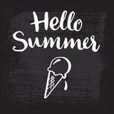 Hello summer - hand-lettering. Ice-cream on a blackboard. Stock Photos