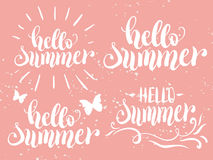 Hello summer hand lettering set. Vector illustration, template for your design and decoration royalty free illustration