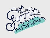 Hello Summer hand lettering written with creative cursive font and decorated with surfer surfing waves. Stylish. Inscription handwritten on white background Stock Photos