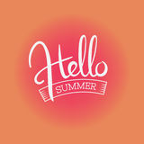 Hello summer handwritten color print Stock Photography