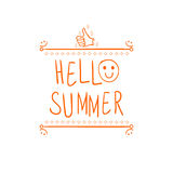 `Hello summer` handwritten orange letters and hand drawn vignette with thumbs up doodle sign. Stock Photos
