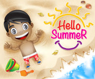 Hello Summer Happy Kid Happy Playing in Beach Sand Background Royalty Free Stock Photos