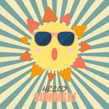 Hello Summer with happy sun on sunburst pattern Royalty Free Stock Images