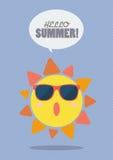 Hello Summer with happy sun on sunburst pattern Stock Photo