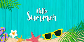 Hello summer holiday background. Season vacation, weekend. Vecto. Hello summer holiday background. Top view with sunglasses, starfish, flip flop, flower and leaf Stock Photos