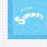 Hello, Summer. Holiday greeting card with swimming pool and calligraphy elements. Handwritten modern lettering with cartoons backg vector illustration