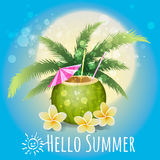 Hello Summer Holiday illustration with cocktail and tropical flo Royalty Free Stock Photography