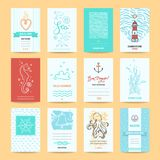 Hello Summer Greeting Cards, Nautic Illustrations. Hello summer holiday, sea vacation, marine trip card, wedding invitation, beach party flyer, poster template Royalty Free Stock Images