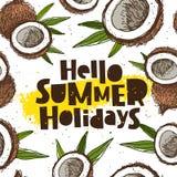 Hello summer holidays. Coconuts Royalty Free Stock Image